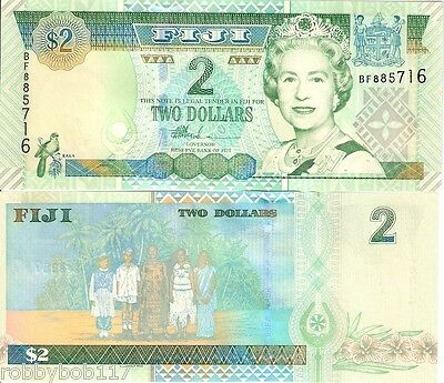 FIJI 2 Dollars Banknote World Paper Money UNC Currency Pick p104a Queen Bill