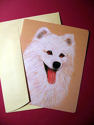 """American Eskimo"" Single Dog Greeting Card - Blank Note Card - sku# 38"