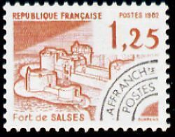 """FRANCE PREOBLITERE TIMBRE STAMP N°175 """"MONUMENTS, FORT DE SALSES"""" NEUF xx TTB"""