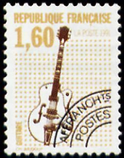 """FRANCE PREOBLITERE TIMBRE STAMP N°213 """"INSTRUMENTS MUSIQUE, GUITARE"""" NEUF xx TTB"""