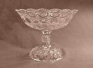 Jeweled Moon and Star Early American Pattern Glass Open Compote