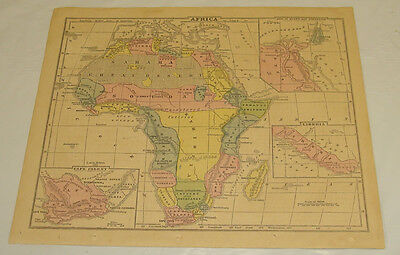1858 Cornell Antique COLOR Map/AFRICA