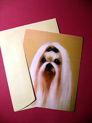 """Maltese"" Single Dog Greeting Card - Blank Note Card - sku# 23"