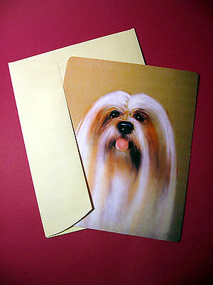 """Lhasa Apso"" Single Dog Greeting Card - Blank Note Card - sku# 24"