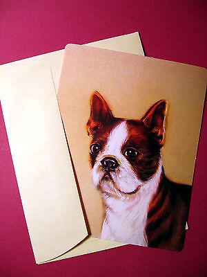 """Boston Terrier"" Single Dog Greeting Card - Blank Note Card - sku# 27"