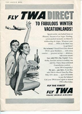 TWA Fly Direct Trans World Airlines Cadillac 1957 Original Vintage Ad