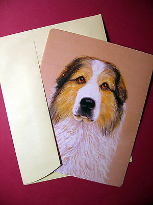 """Great Pyrenees"" Badger Marked  1 - Dog Greeting Card - Blank Note Card -sku# 58"
