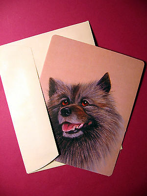 """Keeshond"" 1 - Dog Greeting Card - Blank Note Card -sku# 52"