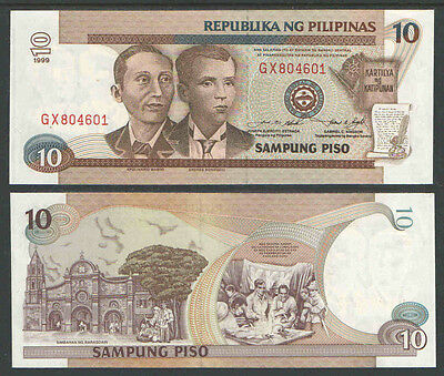 PHILIPPINES 1999 10 Piso Cat # P187e UNCIRCULATED RED SERIAL #