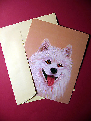 """Samoyed"" 1 - Dog Greeting Card - Blank Note Card - sku# 49"