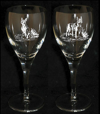 BOSTON TERRIER GIFT - Boxed  PAIR WINE GLASS *DOG GIFT*