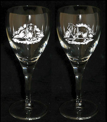 ROUGH COLLIE GIFT - Boxed PAIR WINE GLASS *DOG GIFT*