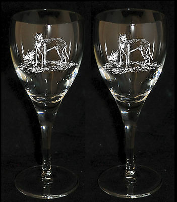 LURCHER GIFT - Boxed PAIR WINE GLASS *DOG GIFT*