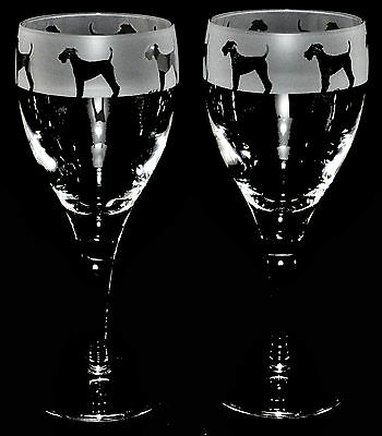 WELSH TERRIER FRIEZE - Boxed PAIR WINE GLASS *DOG GIFT*
