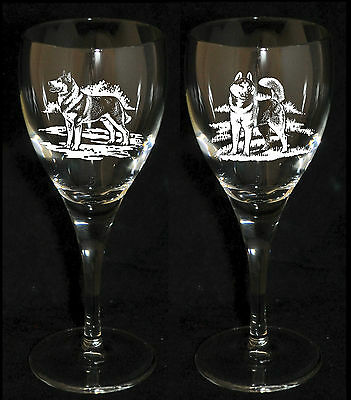 PAIR WINE GLASS *DOG GIFT* with engraved SIBERIAN HUSKY