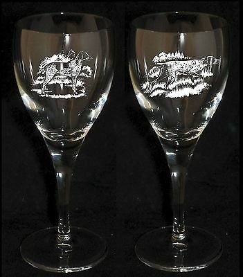 GERMAN POINTER GIFT - Boxed PAIR WINE GLASS *DOG GIFT*