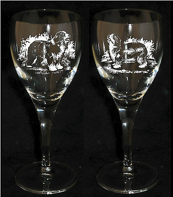 BEARDED COLLIE GIFT - Boxed PAIR WINE GLASS *DOG GIFT*
