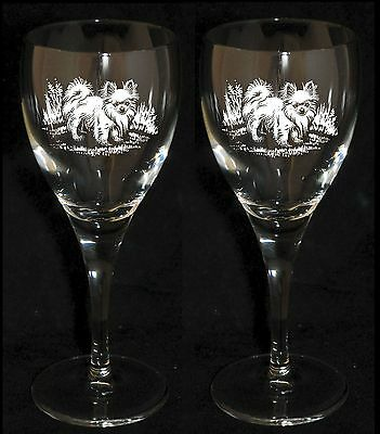 LONG HAIRED CHIHUAHUA GIFT - Boxed PAIR WINE GLASS *DOG GIFT*