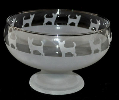 *DOG GIFT* CHIHUAHUA Boxed FOOTED GLASS BOWL with CHIHUAHUA FRIEZE
