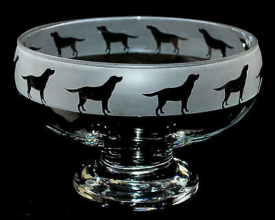 *DOG GIFT* LABRADOR RETRIEVER Boxed Footed Glass Bowl with FROSTED FRIEZE