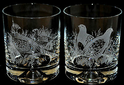 Glass Whisky Tumbler PHEASANT / PARTRIDGE HUNTING GIFT