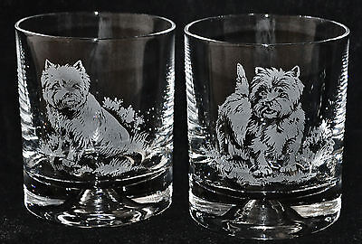 WEST HIGHLAND TERRIER *DOG GIFT*  Boxed PAIR GLASS WHISKY TUMBLER