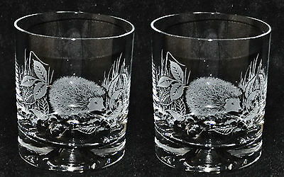 *ANIMAL GIFT* Boxed PAIR GLASS WHISKY TUMBLERS with HEDGEHOG design