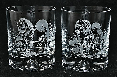 CHOW CHOW *DOG GIFT* Boxed PAIR GLASS WHISKY TUMBLER