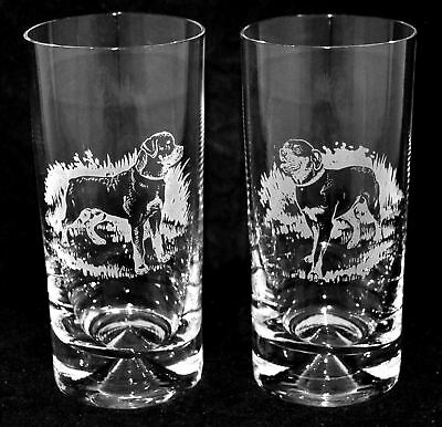 ROTTWEILER *DOG GIFT* Boxed PAIR GLASS HIGHBALL TUMBLER