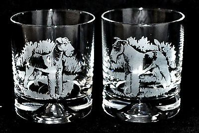 WIRE FOX TERRIER *DOG GIFT* Boxed PAIR GLASS WHISKY TUMBLER