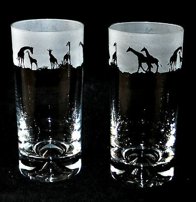 *GIRAFFE GIFT* Boxed Pair HIGHBALL TALL TUMBLERS with GIRAFFE FRIEZE *SAFARI*