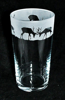 *STAG GIFT*  Boxed PINT BEER GLASS with STAGS Frieze *DEER GIFT*