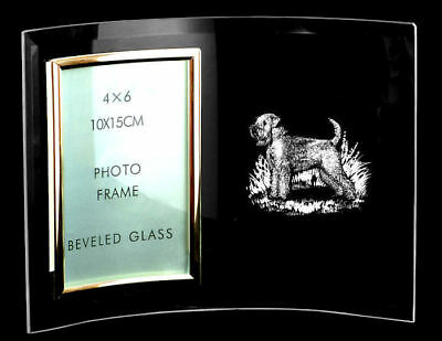 CURVED GLASS PHOTO FRAME ~ with WHEATEN TERRIER  *DOG GIFT*
