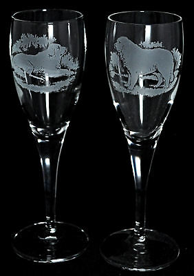 *DOG GIFT* PAIR CHAMPAGNE GLASS with PYRENEAN MOUNTAIN
