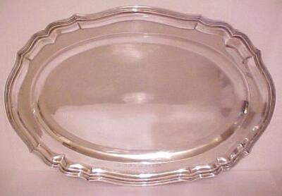 """Antique Solid Sterling or 800-900 Silver Platter Tray 27 troy oz. 15 7/8"""" Wide"""