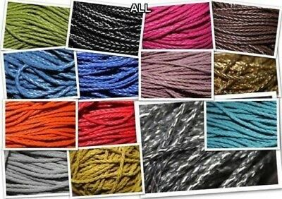 22 STYLE 3 4 5mm Faux Leather Braided Cord Imitation Plaited Thong BUY 1 2 4m+