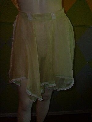 Vintage Darling Sheer Green Half Apron, Lace Trim, Full