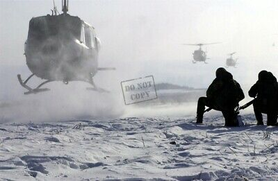 US ARMY USA UH-1 Huey HELICOPTERS, SOLDIERS WAIT IN THE SNOW 8X12 PHOTOGRAPH