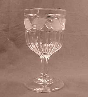 Clear Flint Frosted Leaf Early American Pattern Glass Goblet
