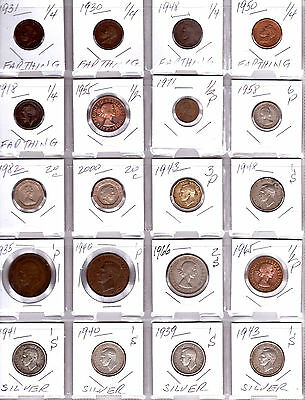 GREAT BRITAIN lot of 20 Different Coins - 4 Coins are Silver - Nice UK Coin Lot
