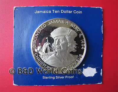 1975 JAMAICA $10 DOLLARS 1.27oz SILVER PROOF COLUMBUS SEALED CARD FRANKLIN MINT