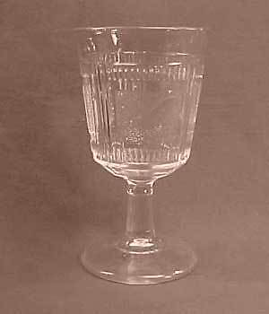 Clear Pleat and Panel Early American Pattern Glass Goblet