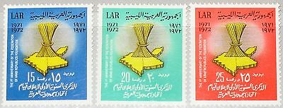 LIBYEN LIBYA 1972 389-91 476-78 1st Ann Arab Republic Foundation Map Karte MNH
