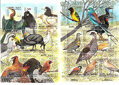 stamps ERITREA 1998 SC 304-305 a:i AFRICAN BIRDS  PRINTED IN QUESTA MNH CV=$22