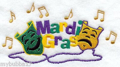 MARDI GRAS MASK LINE SET OF 2 BATH HAND TOWELS EMBROIDERED BY LAURA