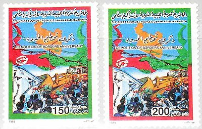LIBYEN LIBYA 1989 1828-29 1364-65 Demolition Tunesian Border fortifications MNH