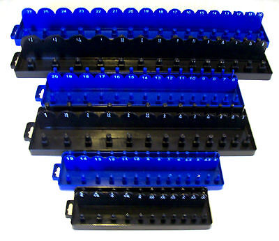 168pc GOLIATH INDUSTRIAL SOCKET TRAY RACK RAIL HOLDERS BLACK/BLUE DEEP SHALLOW