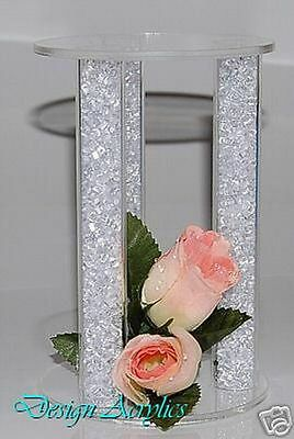 """Acrylic Cake Separator Cage Crystal Cake Topper Wedding Stand 6"""""""