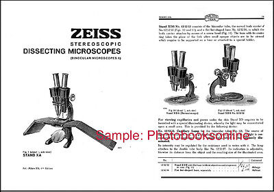 Zeiss Stereo Dissecting Microscope Catalog, 1930, w/ Prices & Cat. No:  Reprint