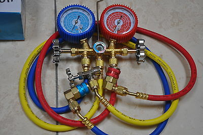 Kit:R22 R134a Manifold Gauge+Hose+Car Port Snap-on Coupler+Can Tapper HVAC Tool
